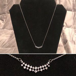 Dainty Silver Rhinestone Necklace